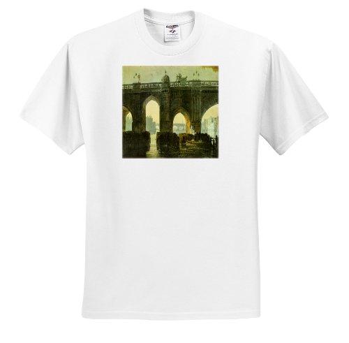 Turner Seascape (Florene Famous British Seascape Paintings - British Painter William Turners 1851 Old London Bridge Watercolor - T-Shirts - Adult T-Shirt Medium (ts_150972_2))