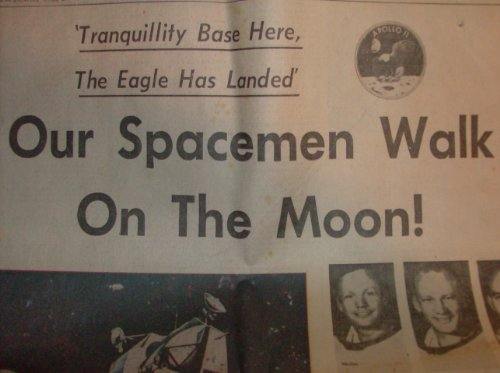 Boston Herald Traveler July 21,1969 Moon Walk (tranquility base here,the eagle has landed our spacemen walk on the moon) (Tranquility Base Here The Eagle Has Landed)