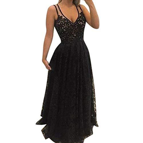 - VICCKI Fashion Women Sexy Backless Lace V-Neck Dinner Suit Sleeveless Long Dress Black