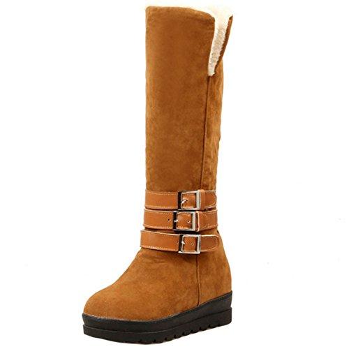 chaudes Compense RAZAMAZA Boucle Bottes Brown Boots Bottes Genoux Hiver Talon Biker Femmes WqTUnrTwv