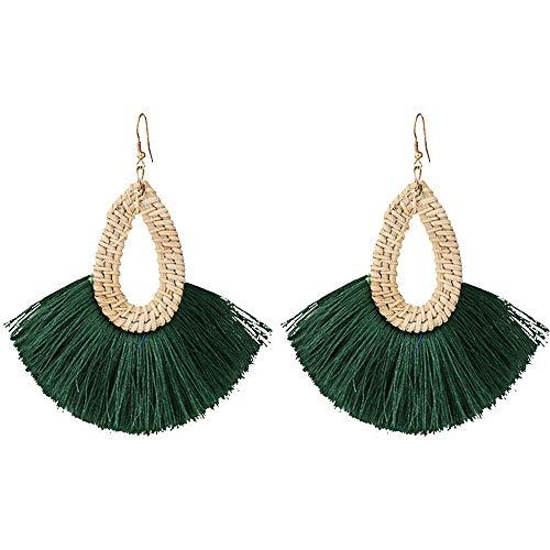 Statement Green Tassel Earrings Summer Rattan Fringe Drop Dangle Earrings for Women