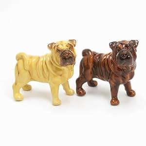 Shar Pei Dog Ceramic Figurine Salt Pepper Shaker 00017 Ceramic Handmade Dog Lover Gift Collectible Home Decor Art and Crafts