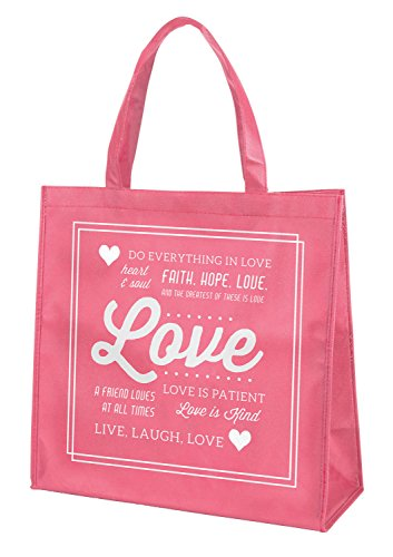 Love Faith Hope Pink 13 x 13 Inch Recycled Nylon Tote Bag