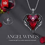 CDE Angel Wing Pendant Necklace White Gold Plated