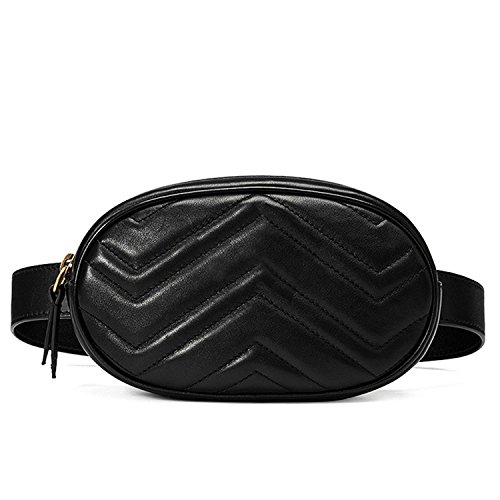 Price comparison product image Toupons Fashion Small Pu Leather Waist Fanny Pack Bag for Girls & Women Cellphone Pouch (Black-7)