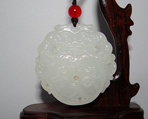 """2"""" China Certified Nature Afghan White Jade Amulet Pixiu Necklace Pendant"""