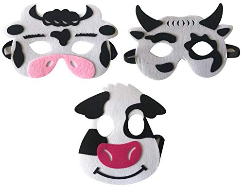 3 Piece Felt masks animal Halloween masks Dress-Up party accessory Parent-child game(Cow) (Cow Costume Accessories)