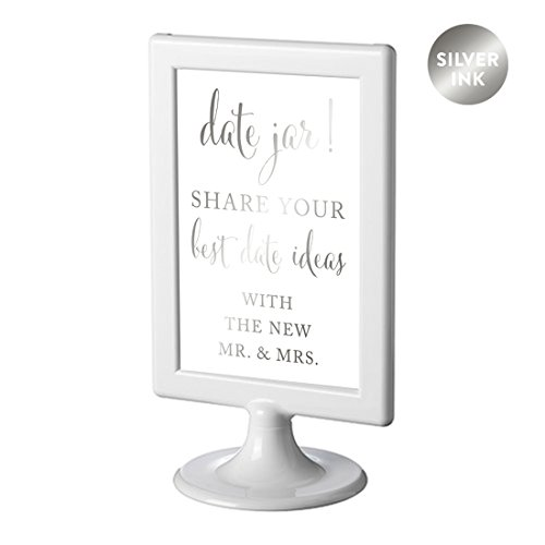 Andaz Press Framed Wedding Party Signs, Metallic Silver Ink, 4x6-inch, Date Jar Share Your Best Date Idea With the New Mr. & Mrs. Sign, Double-Sided, 1-Pack, Colored Decorations