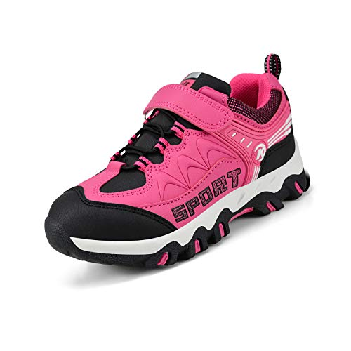 Nyznia Boys Sneakers Outdoor Tennis Shoes Walking Running Shoes Black Pink 2.5 US Big Kid