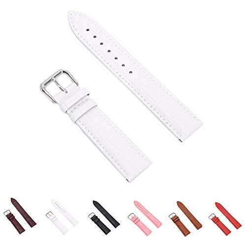 STYLELOVER+Leather+Watch+Band%2C+Genuine+Cowhide+Replacement+Watch+Strap+for+Men+and+Women+20mm+White