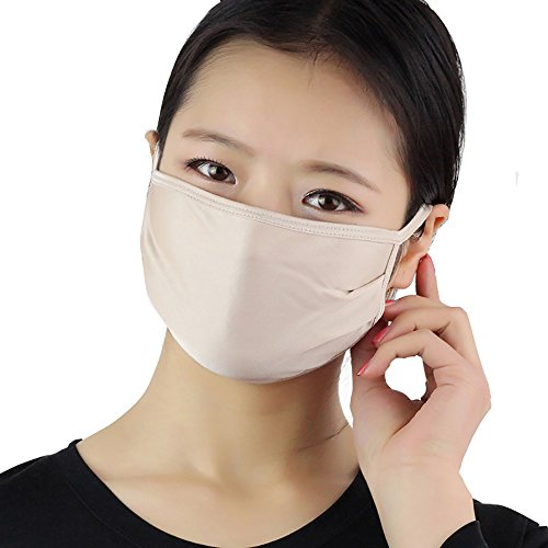 LingDooo 100% Knitted Silk Lightweight Breathable Face Mouth Mask Cover Wind Against Dust Filter Sanitary Washed Reusable (Beige)
