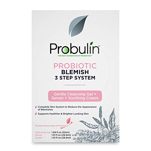 Probulin Probiotic Blemish 3 Step System, Gentle Facial Cleansing Gel, Facial Serum, Soothing Moisturizer Cream, Skin