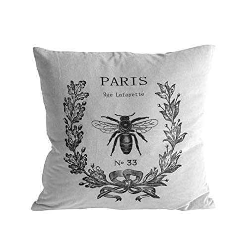 """Caffling Velvet Soft Decorative Square Throw Pillow Covers Euro Shams Cushion Cases Pillowcases for Sofa Couch Chair Bedroom Car Back Seat, 16"""" x 16"""" Paris Rue Lafayette Bee Wreath"""