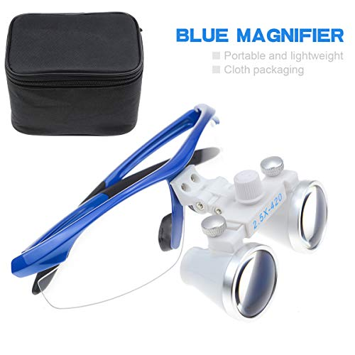 Aries Outlets Surgical Medical Binocular Loupes 2.5X420mm Optical Glass Plastic Frame with Antifog Blue