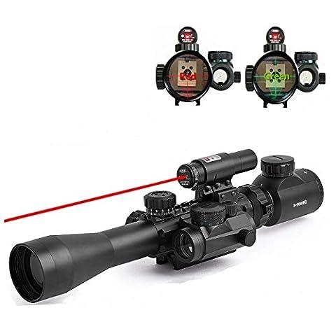 Feyachi Riflescope 3-9X40EG Illuminated Tactical Rifle Scope with Red Laser & Holographic Dot Sight (3 8 Scope Mount Adapter)