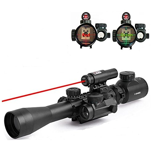 Fayachi Riflescope 3-9X40EG Illuminated Tactical Rifle Scope with Red Laser & Holographic Dot Sight