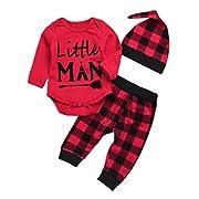 Newborn Baby Boy Girl Clothes Little Man Long Sleeve Romper,Plaid Pants + Cute Hats 4pcs Outfit Set