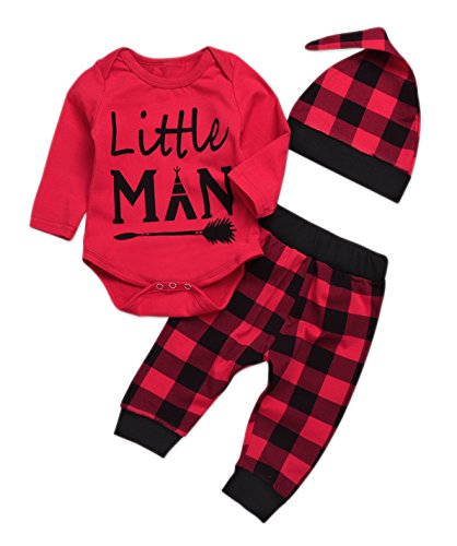 Newborn Baby Boys 3pcs Outfits Letters Arrow Printed Long Sleeve Romper + Plaid Pants + Hat (Red, 18-24 Months) ()