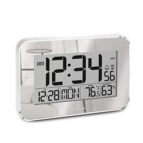 Marathon Designer Atomic Wall Clock with Polished Acrylic Bezel. Displays Calendar, Indoor -