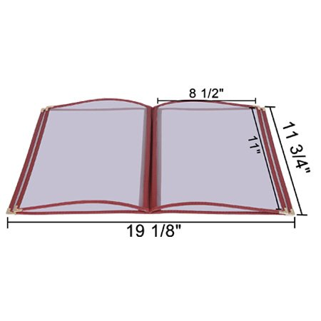 20 Non-Toxic Restaurant Menu Cover Fold 8.5X11 Burgundy Trim 4 Page 8 View Cafe by Generic (Image #1)