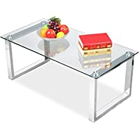 Topeakmart Modern Glass Top Coffee Tables Metal Base High Gloss Glass Living Room Side End Table