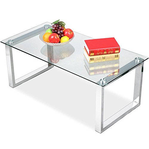 Topeakmart Modern Glass Top Coffee Tables Metal Base High Gloss Glass Living Room Side End Table (Rectangular Table Side Glass)