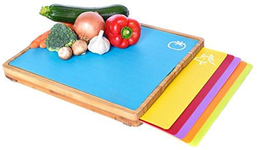 Sandford CUT Bambus Holz Schneidbrett   Schneidebrett Set mit 6 Schneidematten/flexible Kunststoff Matten   Lebensmittel wie Fisch/Gemüse/Geflügel separat schneiden   hygienisches Küchenbrett
