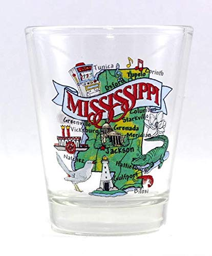 Mississippi State Elements Map Shot Glass
