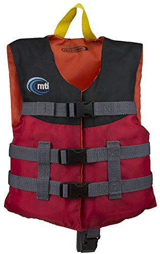 Black Kids Life Vest (MTI Adventurewear Child Livery Life Jacket, Red/Black, 30-50 lb)