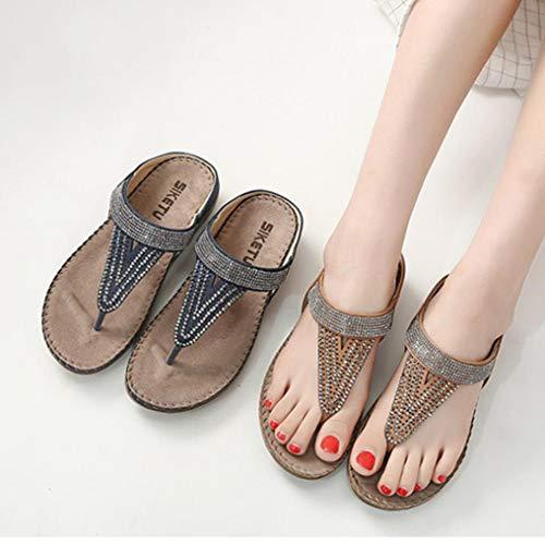 2f06893f1 FORUU Women Flat Shoes Bead Bohemia Lady Slippe Sandals Peep-Toe Outdoor  Shoes Slipper