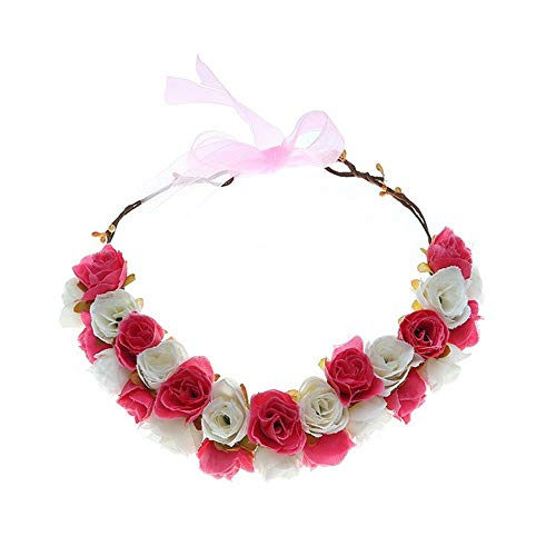 JWI Flower Wreath for Girls and Women Wedding Holiday Party Double-Decker Rose Handmade Flower Headband Garland Wreath Crown Headdress (Color : Rose red) ()