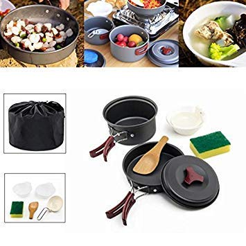 Outdoor 1-2 People Picnic Pots Travel Camping Sets Pans Bowls Hard Aluminum Oxide Tableware