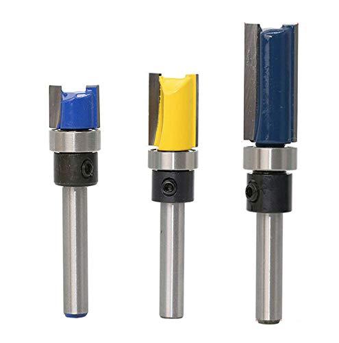 Autoly 2 Flute 1/4 Inch Shank Top Bearing Flush Trim Pattern Router Bit Woodworking Milling Cutter Tool 1set (1/4x1/2x11.9,1/4x1/2x25,1/4x1/2x20) ()