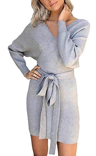 Hx Fashion Dell anca Chic Slim Donna Mini Sera Pullover Maglia Ragazza  Pacchetto Manica In Da Abiti Corto Cerimonia neck Elegante Lunga ... 8241276a44e