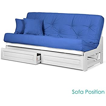 Amazon.com: Brentwood Tray Arm Queen Size Wood Futon Frame and ...
