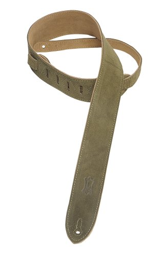 """Levy's Leathers 2"""" Suede Guitar Strap with Suede Backing - Adjustable from 36"""" to 52""""; Green (MS12-GRN)"""