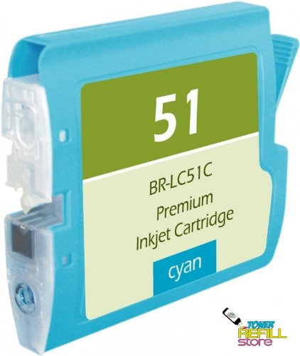 Compatible Brother LC51C (LC-51C) Cyan Ink Cartridge for the Brother DCP-130c, DCP-330c, DCP-350c, FAX-1360C, IntelliFax-2580C, MFC-230C, MFC-240C, MFC-5460CN, MFC-5860CN, MFC-885CW.