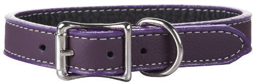 "Auburn Leather Tuscany Pet Dog Collar Round Rolled 16""-18"" - Purple"