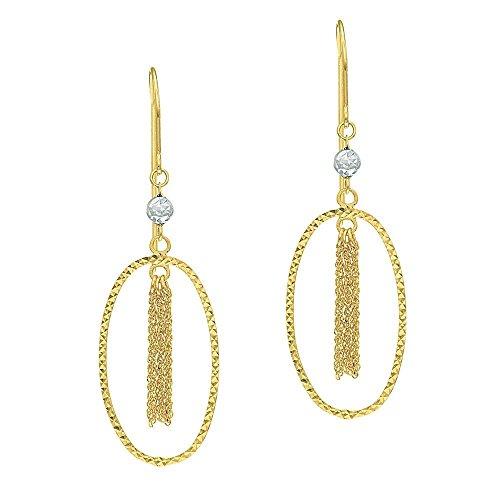 (14k Yellow Gold Star Diam-cut Open Oval Drop Earrings Tassels Inside White Gold Diamond French Wire)