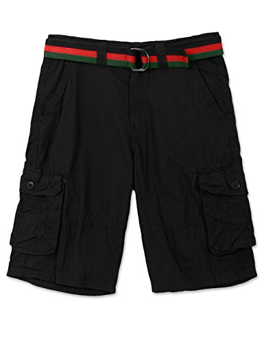 JC DISTRO Mens Hipster Hip Hop Color Stripe Belted Twill Black Cargo Shorts 34