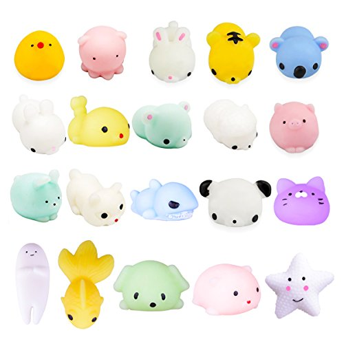 LEEHUR 20Pcs Squishy Toys, Party Favors Mochi Squishies Mini Squeeze Funny Toy Soft Stress and Anxiety Relief Toys for Kids/Adults Random (Pinata Filler)