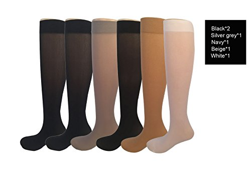 6 Pairs Women's Opaque Spandex Trouser Knee High Socks Queen Size 9-11-asst