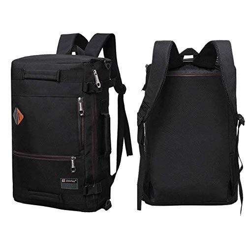 Men Canvas Backpack Travel Bag Hiking Bag Camping Rucksack Black 21 inch (Black) ()