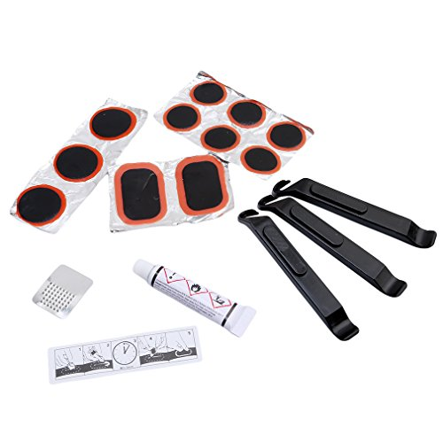 Box Lever Kit - HS Bike Bicycle Tire Repair Tool Kit with Patches Levers Pouch Glue and Portable Box 1pc (Orange)