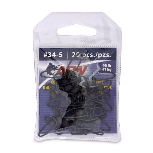 American Fishing Wire Brass Coastlock Snap Swivels (Black/225 Pound Test, 5-Pieces) ()