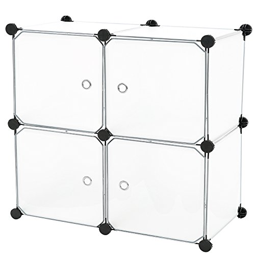 C&AHOME - 4 Cube DIY Bookcase Bookshelf Mini Storage Organizer with Doors, Translucent (Shelf Unit With Doors)