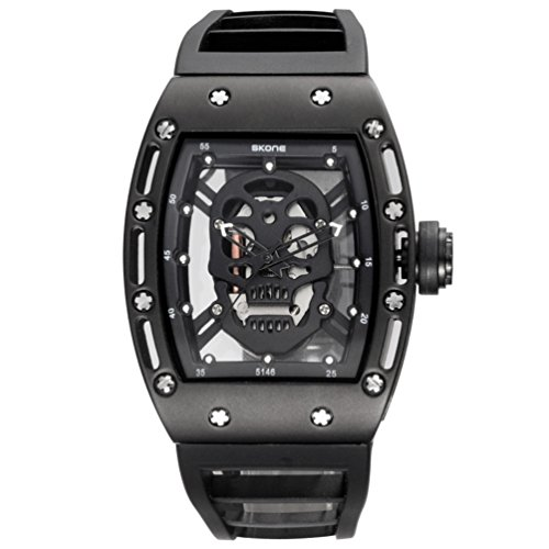 Men 's Skulls Retro Hollow Luminous Waterproof Quartz Watch Black