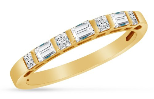 (Size 8 - Solid 14K Yellow Gold Princess Cut & Baguette Highest Quality CZ Cubic Zirconia Ladies Womens Wedding Band or Anniversary Ring 1/2 cttw.)