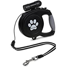 Dog Retractable Leash, IDEAPRO 26 ft 110 lbs Dog Walking Leash Heavy Duty Tangle Free Nylon Dog Leash with LED Detachable Flashlight for Medium Large Dogs (Black)