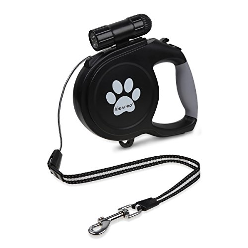 Dog retractable leash 26-feet (110 pounds) with LED Detac...